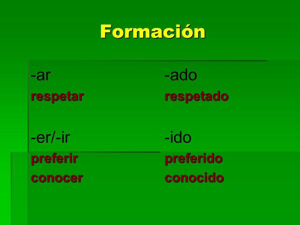 Formación -arrespetar -er/-irpreferirconocer -adorespetado -idopreferidoconocido