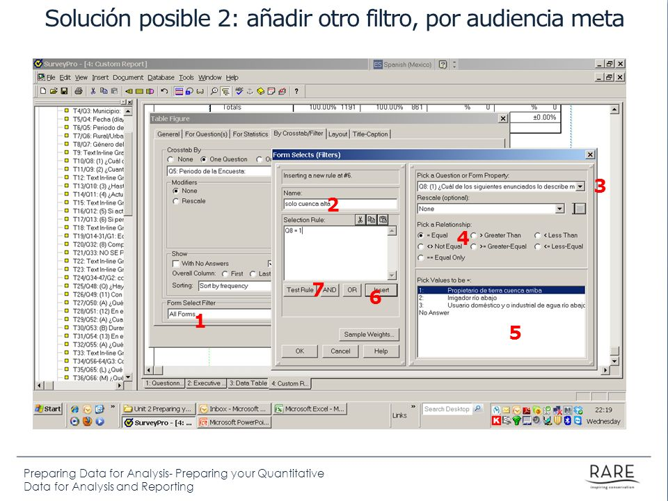 Preparing Data for Analysis- Preparing your Quantitative Data for Analysis and Reporting Solución posible 2: añadir otro filtro, por audiencia meta 1
