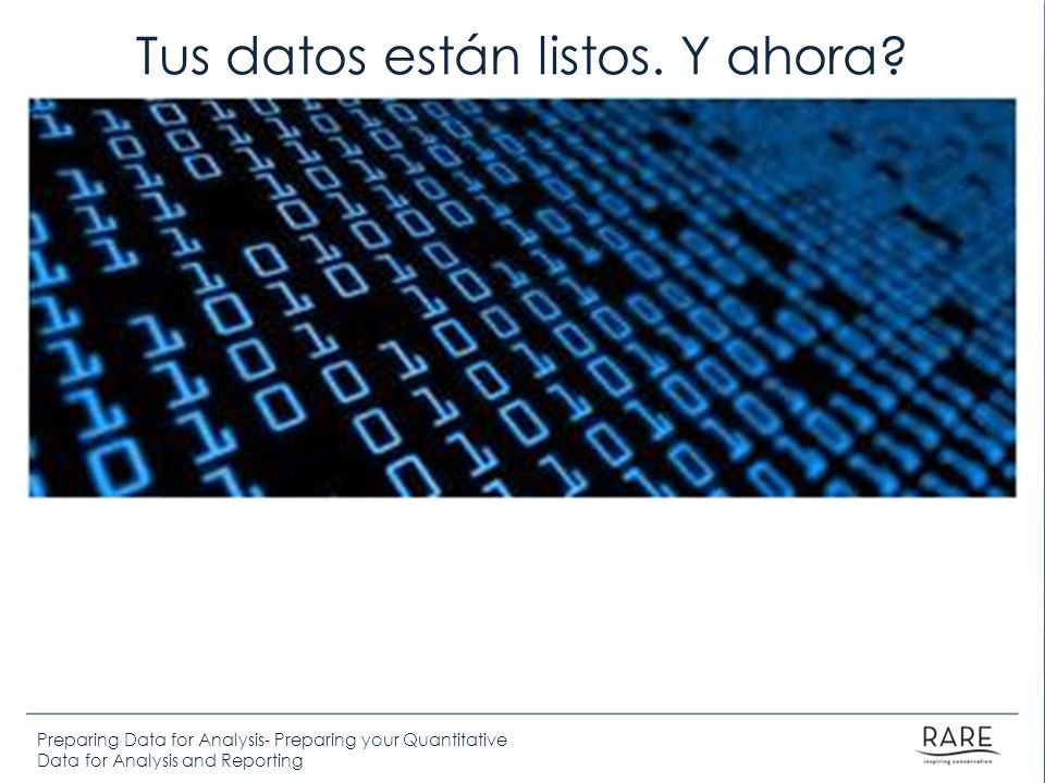 Preparing Data for Analysis- Preparing your Quantitative Data for Analysis and Reporting Tus datos están listos.