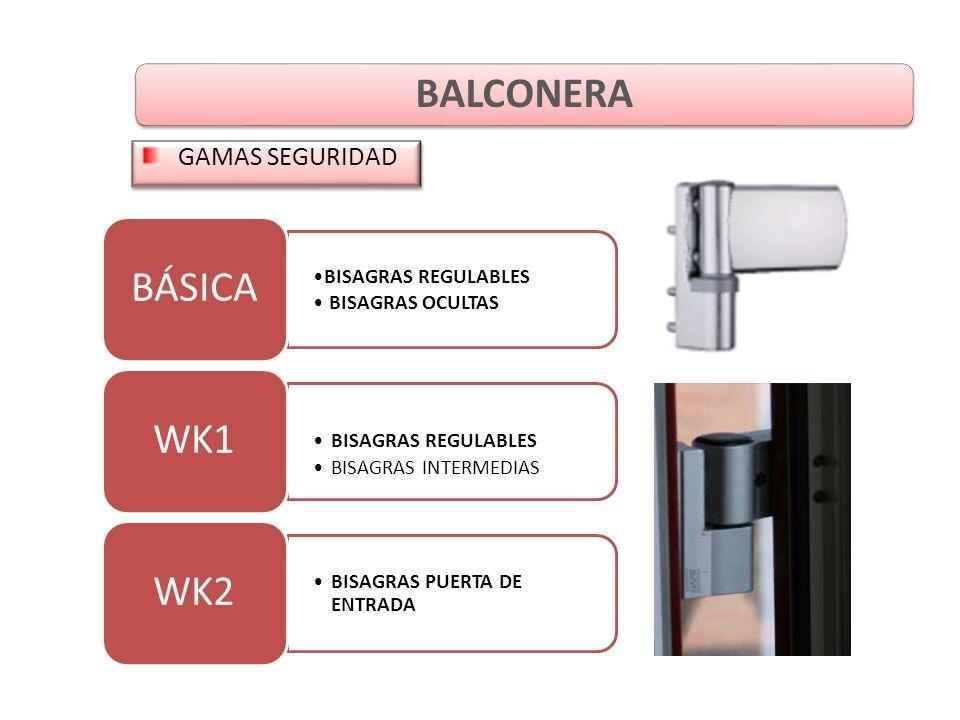 BISAGRAS REGULABLES BISAGRAS OCULTAS BÁSICA BISAGRAS REGULABLES BISAGRAS INTERMEDIAS WK1 BISAGRAS PUERTA DE ENTRADA WK2 BALCONERA GAMAS SEGURIDAD