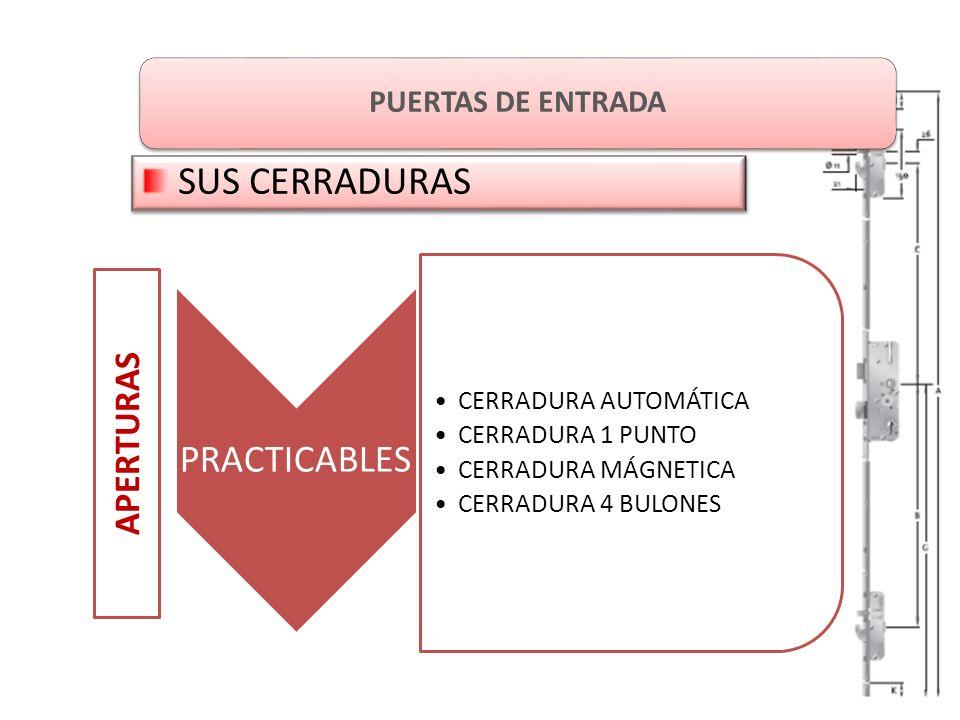 PUERTAS DE ENTRADA SUS CERRADURAS APERTURAS PRACTICABLES CERRADURA AUTOMÁTICA CERRADURA 1 PUNTO CERRADURA MÁGNETICA CERRADURA 4 BULONES