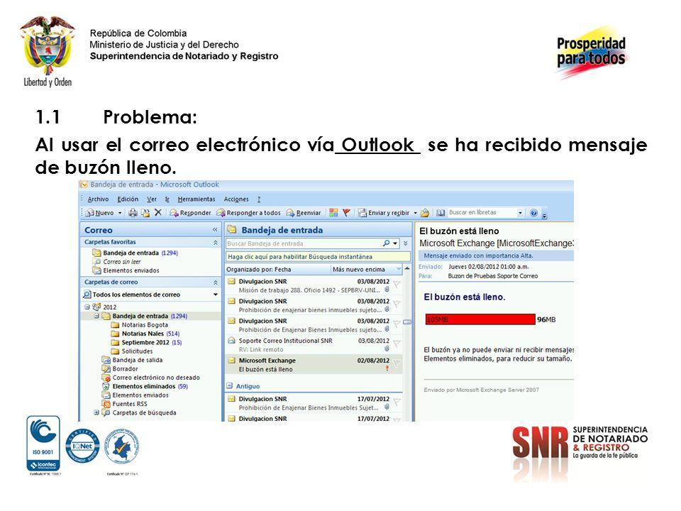 1.1Problema: Al usar el correo electrónico vía Outlook se ha recibido mensaje de buzón lleno.
