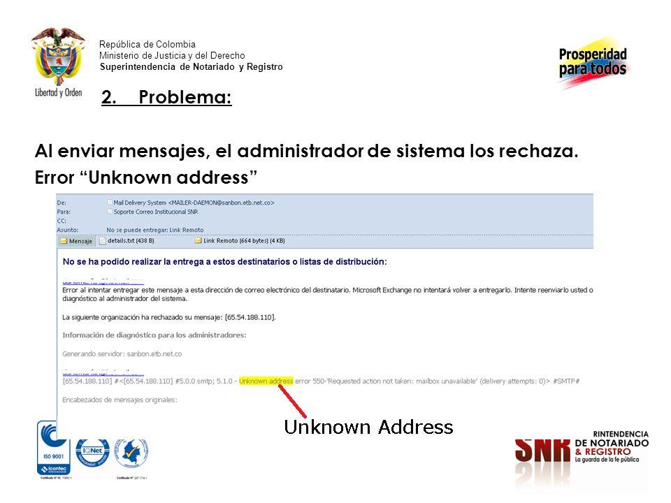 2.Problema: Al enviar mensajes, el administrador de sistema los rechaza.