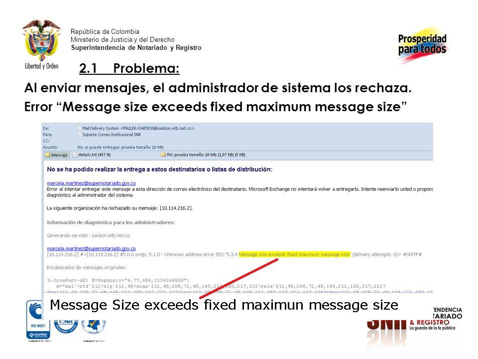 2.1 Problema: Al enviar mensajes, el administrador de sistema los rechaza.