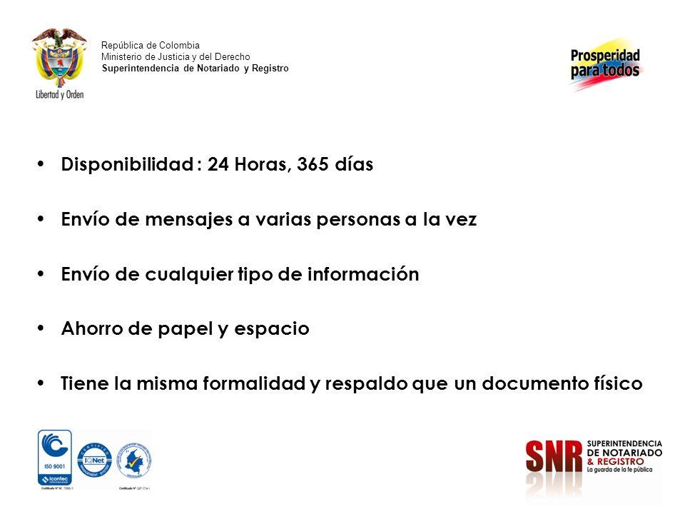 Formas de Acceso al Correo Electrónico República de Colombia Ministerio de Justicia y del Derecho Superintendencia de Notariado y Registro