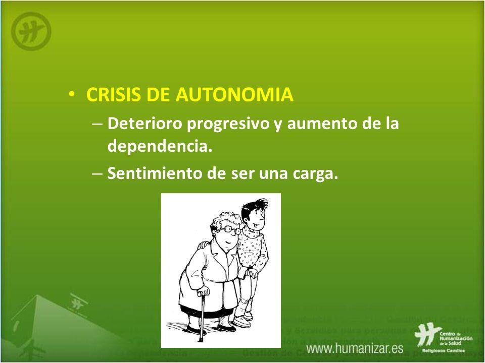 CRISIS DE AUTONOMIA – Deterioro progresivo y aumento de la dependencia. – Sentimiento de ser una carga.