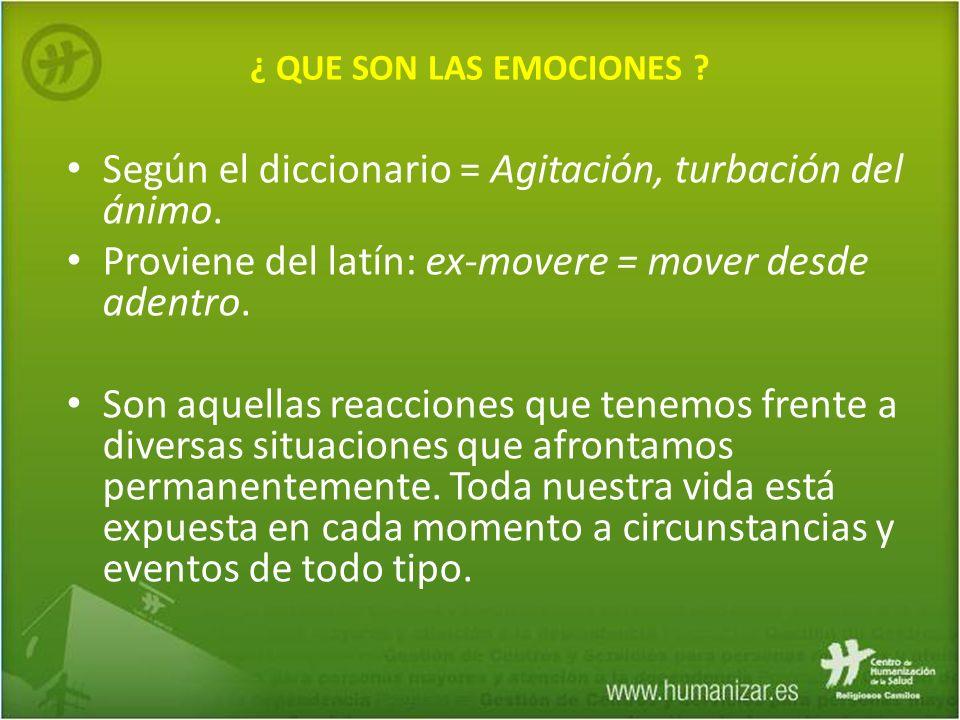 ¿ QUE SON LAS EMOCIONES ? Según el diccionario = Agitación, turbación del ánimo. Proviene del latín: ex-movere = mover desde adentro. Son aquellas rea