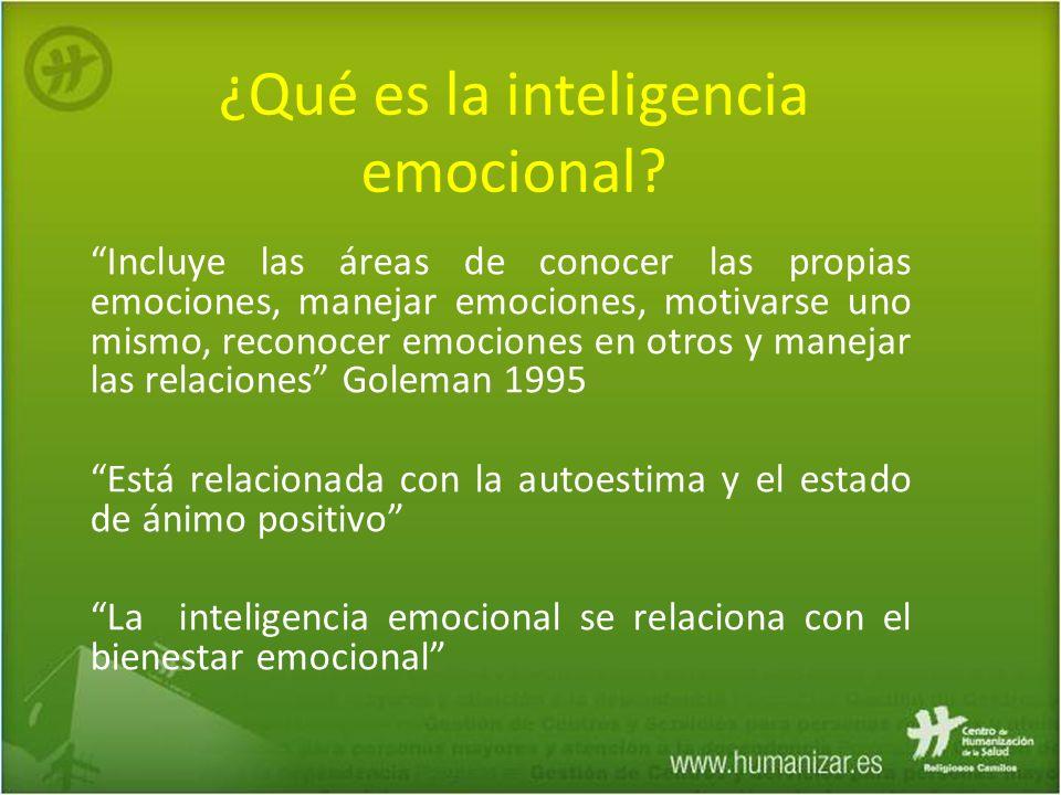 Incluye las áreas de conocer las propias emociones, manejar emociones, motivarse uno mismo, reconocer emociones en otros y manejar las relaciones Gole