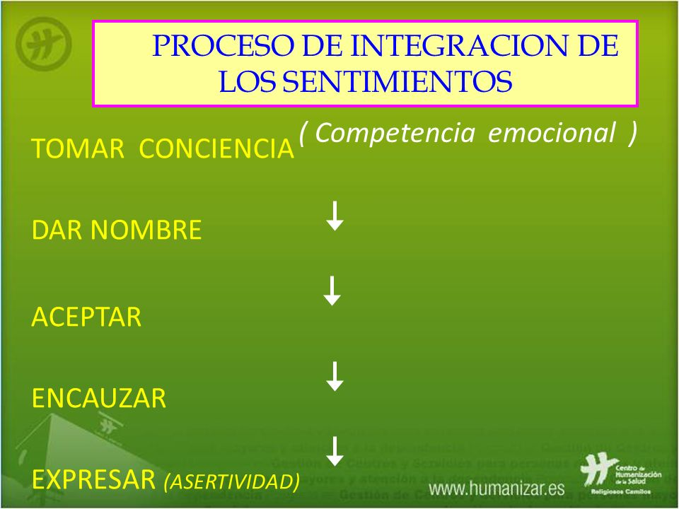 TOMAR CONCIENCIA DAR NOMBRE ACEPTAR ENCAUZAR EXPRESAR (ASERTIVIDAD) ( Competencia emocional ) PROCESO DE INTEGRACION DE LOS SENTIMIENTOS