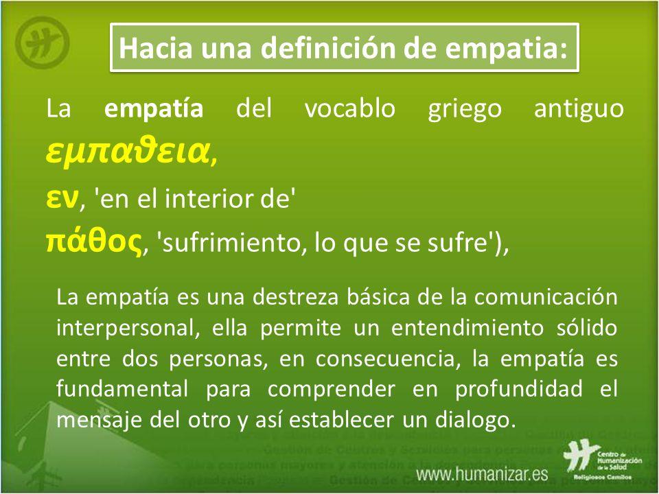 La empatía del vocablo griego antiguo εμπαθεια, εν, 'en el interior de' πάθoς, 'sufrimiento, lo que se sufre'), Hacia una definición de empatia: La em
