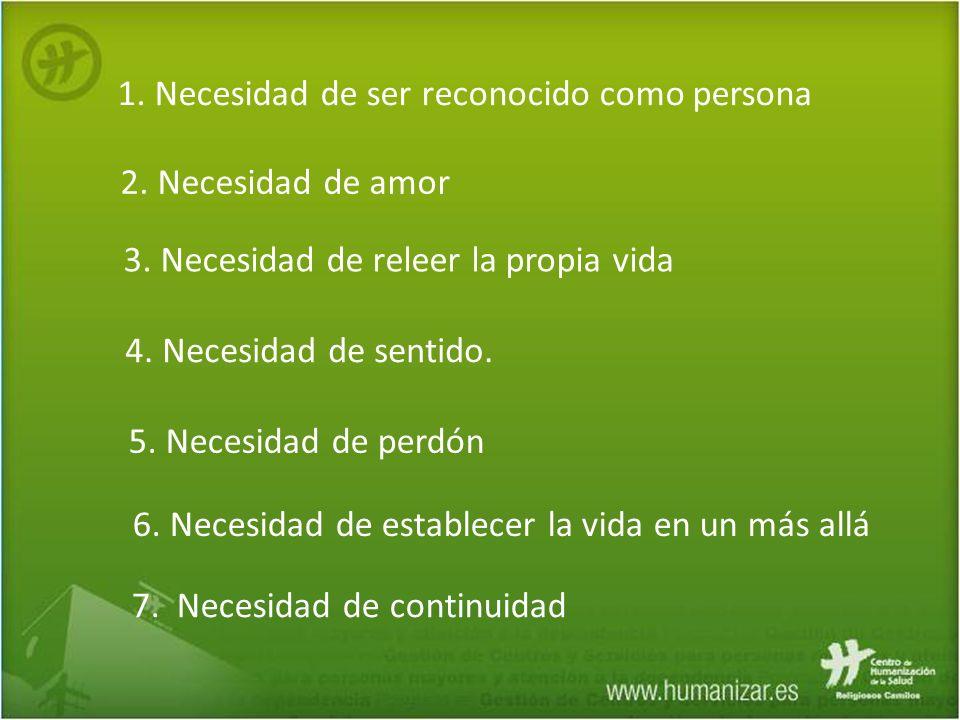1. Necesidad de ser reconocido como persona 2. Necesidad de amor 3. Necesidad de releer la propia vida 4. Necesidad de sentido. 5. Necesidad de perdón