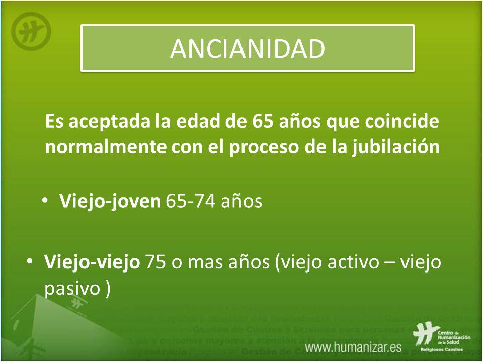 ANCIANIDAD Viejo-viejo 75 o mas años (viejo activo – viejo pasivo ) Es aceptada la edad de 65 años que coincide normalmente con el proceso de la jubil