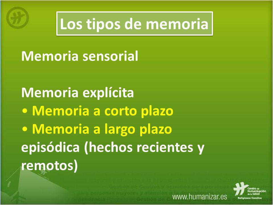 Memoria sensorial Memoria explícita Memoria a corto plazo Memoria a largo plazo episódica (hechos recientes y remotos) Los tipos de memoria