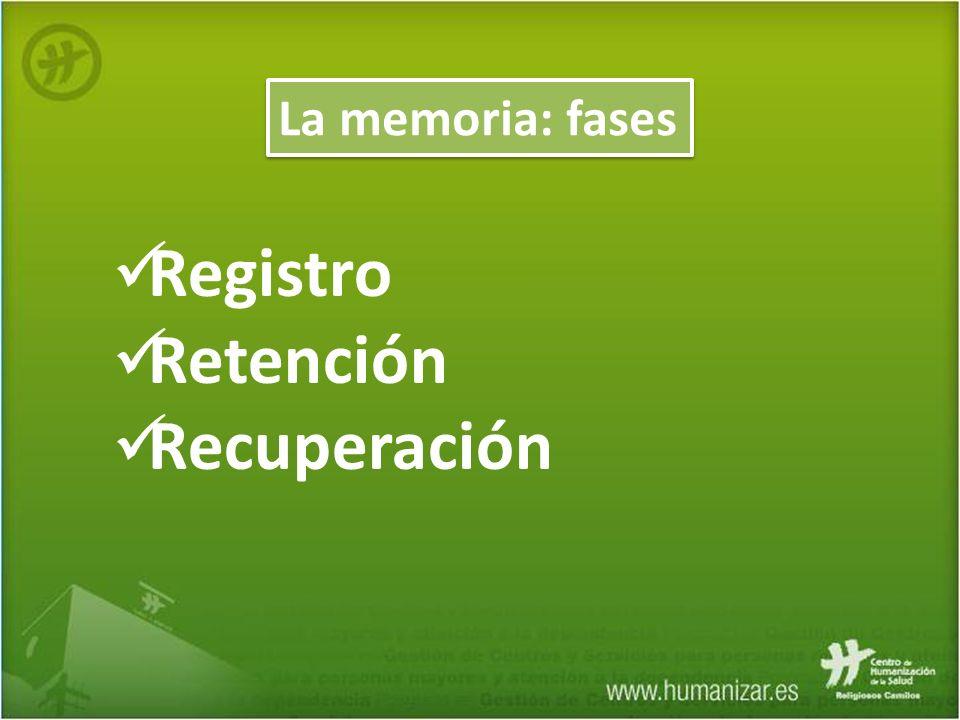 Registro Retención Recuperación La memoria: fases