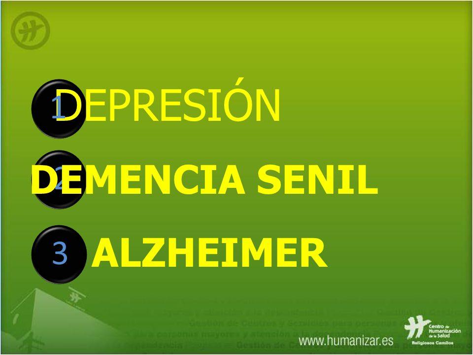 DEPRESIÓN 1 2 3 DEMENCIA SENIL ALZHEIMER