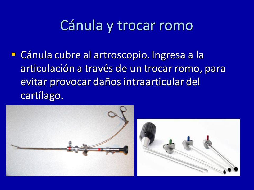 Cánula y trocar romo Cánula cubre al artroscopio. Ingresa a la articulación a través de un trocar romo, para evitar provocar daños intraarticular del