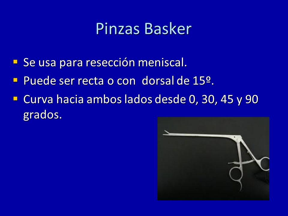 Pinzas Basker Se usa para resección meniscal. Se usa para resección meniscal. Puede ser recta o con dorsal de 15º. Puede ser recta o con dorsal de 15º