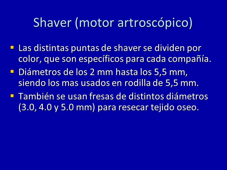 Shaver (motor artroscópico) Las distintas puntas de shaver se dividen por color, que son específicos para cada compañía. Las distintas puntas de shave