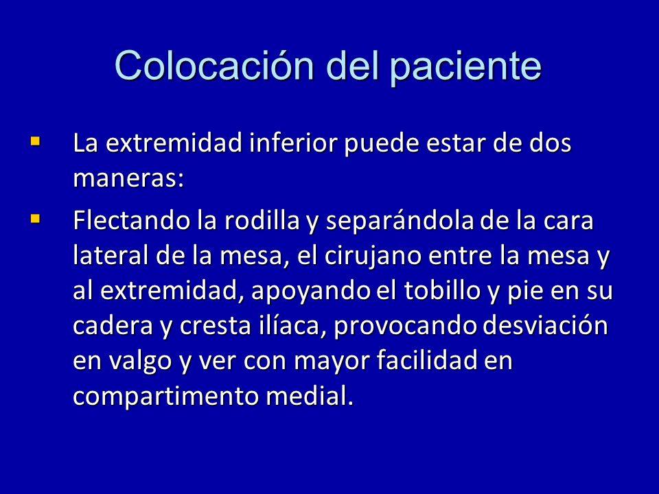 Colocación del paciente La extremidad inferior puede estar de dos maneras: La extremidad inferior puede estar de dos maneras: Flectando la rodilla y s
