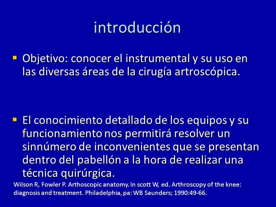 introducción Objetivo: conocer el instrumental y su uso en las diversas áreas de la cirugía artroscópica. Objetivo: conocer el instrumental y su uso e