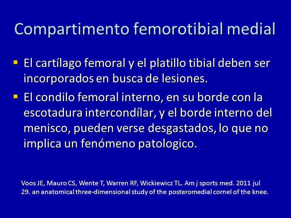 Compartimento femorotibial medial El cartílago femoral y el platillo tibial deben ser incorporados en busca de lesiones. El cartílago femoral y el pla