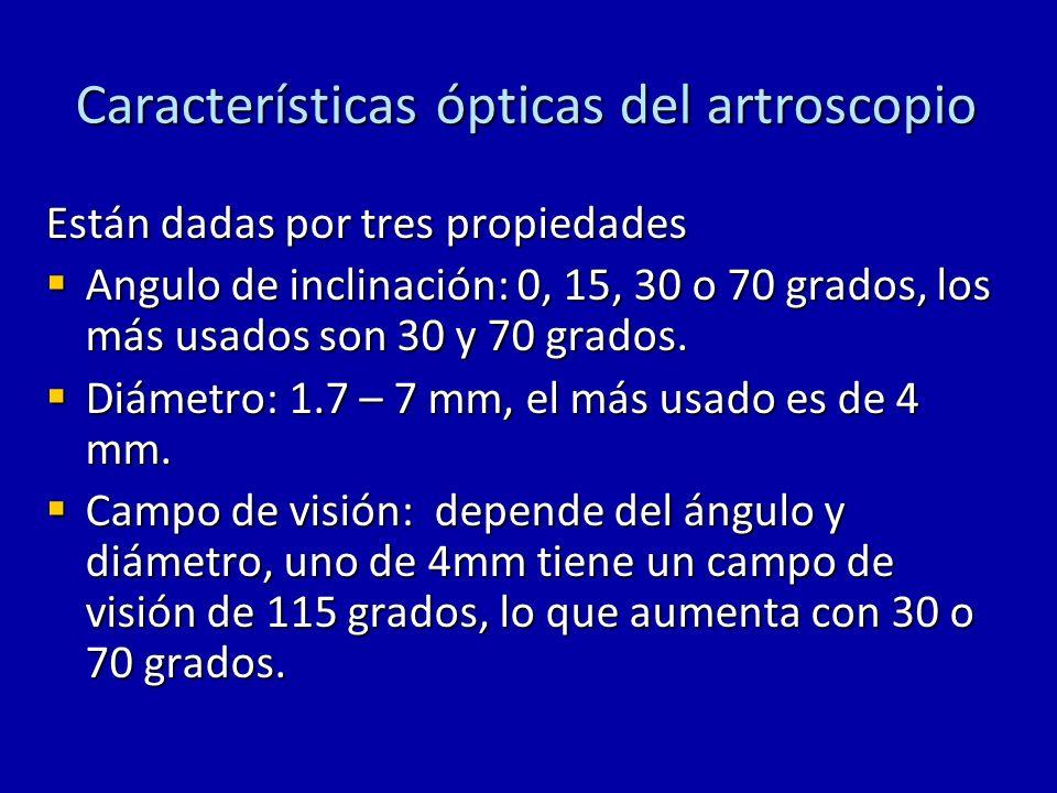 Características ópticas del artroscopio Están dadas por tres propiedades Angulo de inclinación: 0, 15, 30 o 70 grados, los más usados son 30 y 70 grad