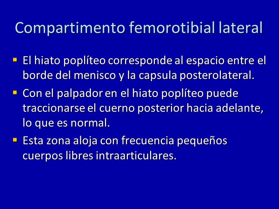 Compartimento femorotibial lateral El menisco externo es mas movil (hasta 10 mm) durante la flexión y extensión, debido a que no tiene inserción con el ligamento colateral lateral.