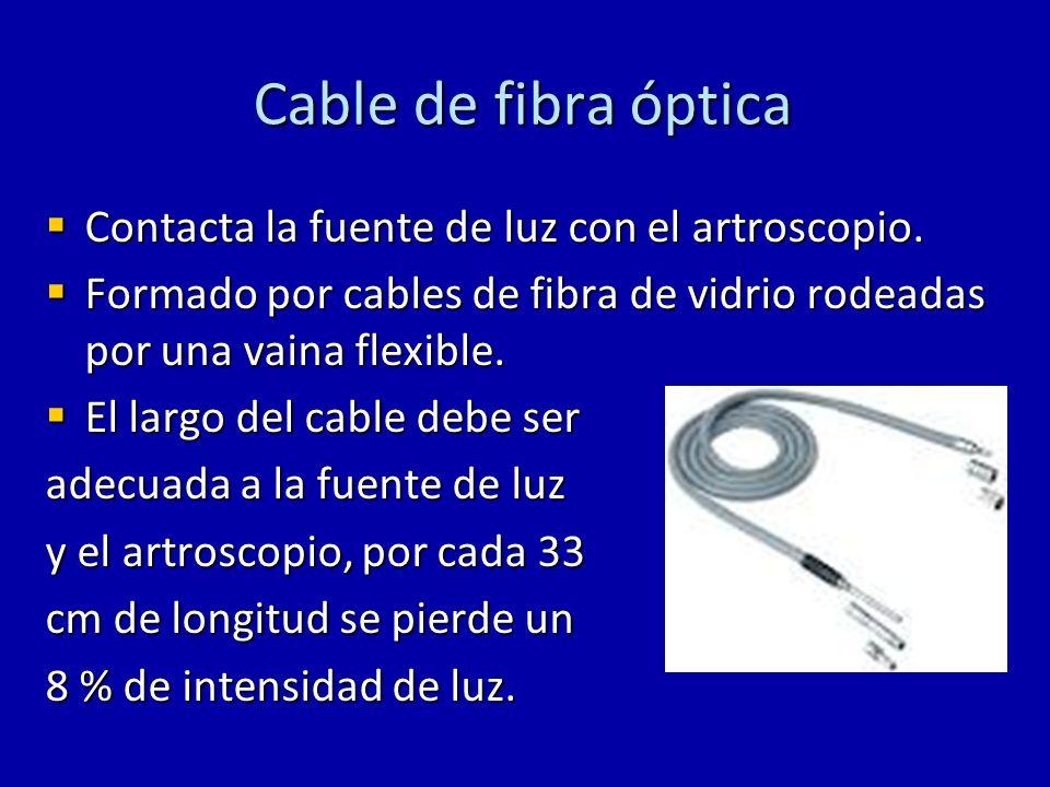 Cable de fibra óptica Contacta la fuente de luz con el artroscopio. Contacta la fuente de luz con el artroscopio. Formado por cables de fibra de vidri