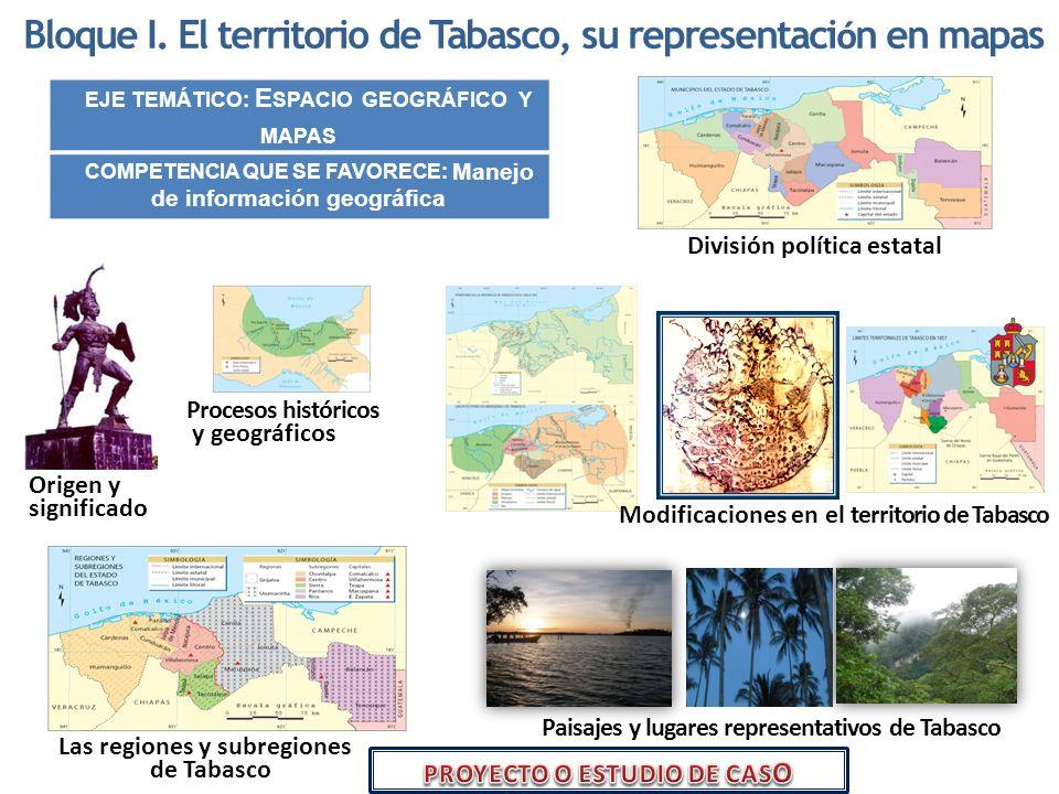 Bloque I. El territorio de Tabasco, su representaci ó n en mapas EJE TEMÁTICO: E SPACIO GEOGRÁFICO Y MAPAS COMPETENCIA QUE SE FAVORECE: Manejo de info