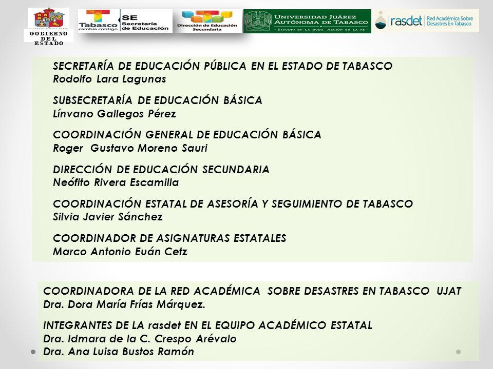 SECRETARÍA DE EDUCACIÓN PÚBLICA EN EL ESTADO DE TABASCO Rodolfo Lara Lagunas SUBSECRETARÍA DE EDUCACIÓN BÁSICA Línvano Gallegos Pérez COORDINACIÓN GEN
