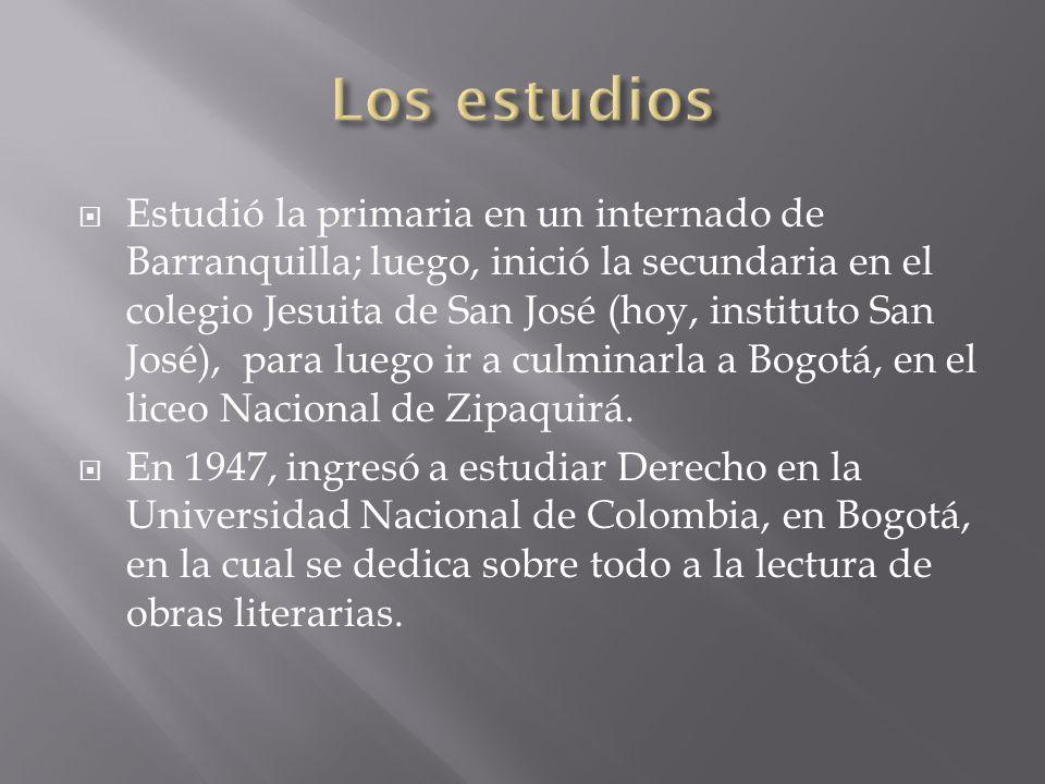Estudió la primaria en un internado de Barranquilla; luego, inició la secundaria en el colegio Jesuita de San José (hoy, instituto San José), para lue