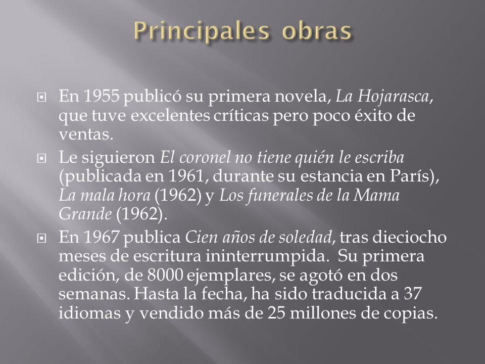 En 1955 publicó su primera novela, La Hojarasca, que tuve excelentes críticas pero poco éxito de ventas. Le siguieron El coronel no tiene quién le esc