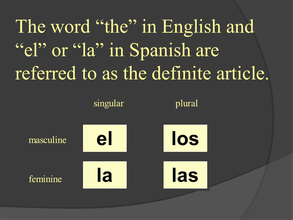 singularplural masculine feminine un una unos unas The word a always precedes a noun and refers to a inspecific person, place, thing, or concept.