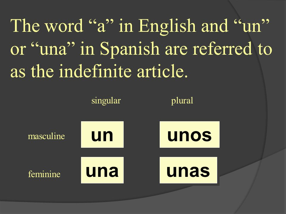 The word a in English and un or una in Spanish are referred to as the indefinite article. singularplural masculine feminine un una unas unos