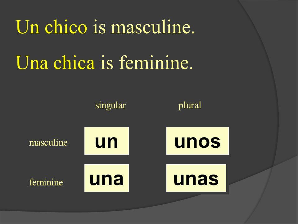 singularplural masculine feminine un una unos unas Un chico is masculine. Una chica is feminine.