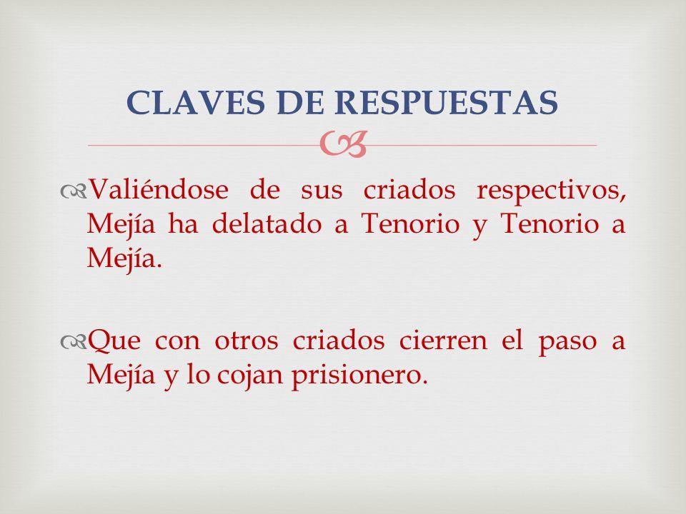 Valiéndose de sus criados respectivos, Mejía ha delatado a Tenorio y Tenorio a Mejía. Que con otros criados cierren el paso a Mejía y lo cojan prision