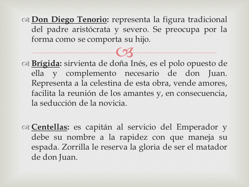Don Diego Tenorio: representa la figura tradicional del padre aristócrata y severo. Se preocupa por la forma como se comporta su hijo. Brígida: sirvie