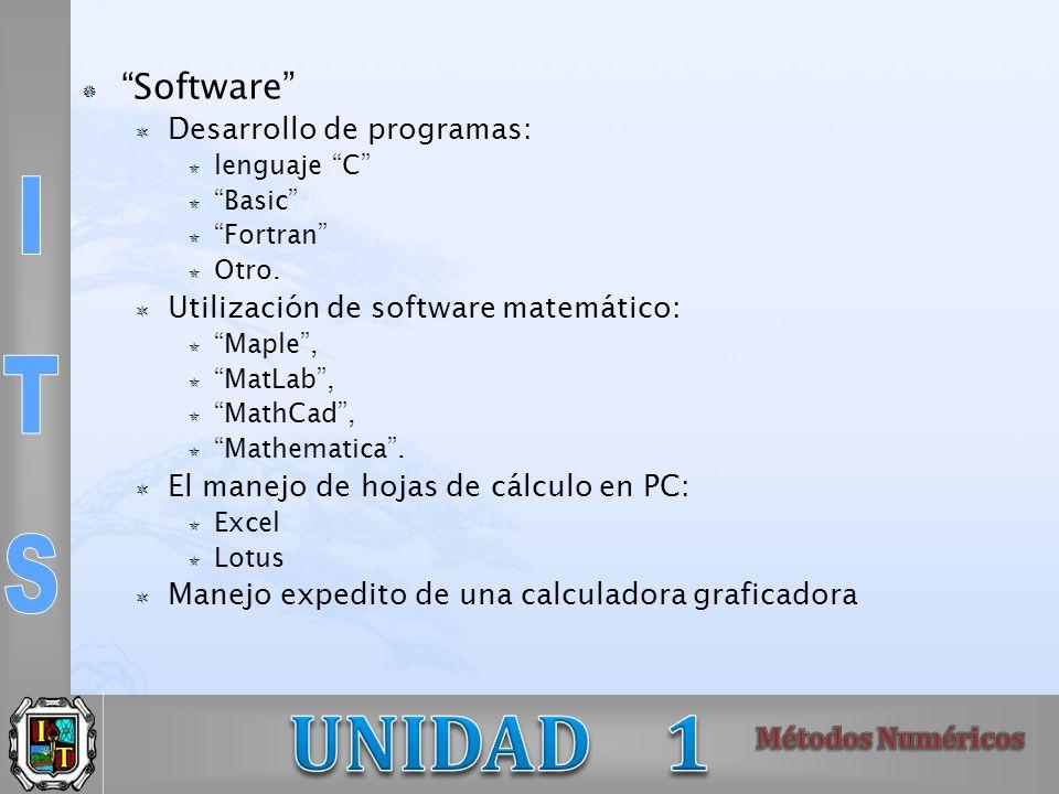 Software Desarrollo de programas: lenguaje C Basic Fortran Otro. Utilización de software matemático: Maple, MatLab, MathCad, Mathematica. El manejo de