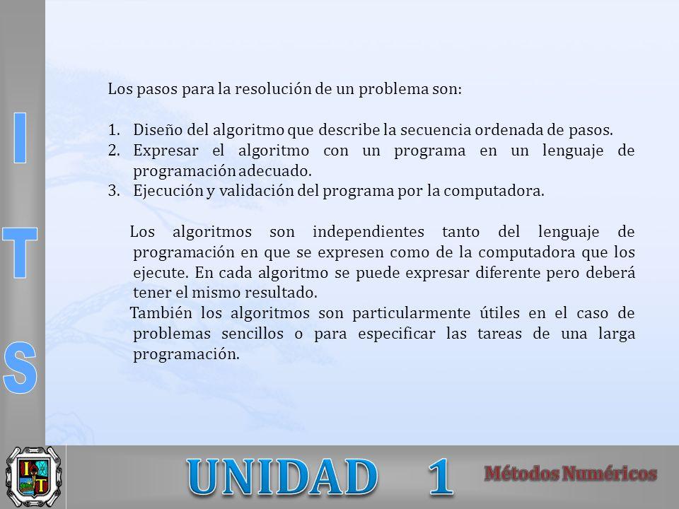 Los pasos para la resolución de un problema son: 1.Diseño del algoritmo que describe la secuencia ordenada de pasos. 2.Expresar el algoritmo con un pr