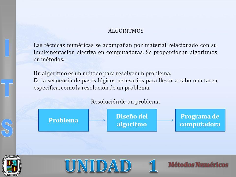 ALGORITMOS Las técnicas numéricas se acompañan por material relacionado con su implementación efectiva en computadoras. Se proporcionan algoritmos en