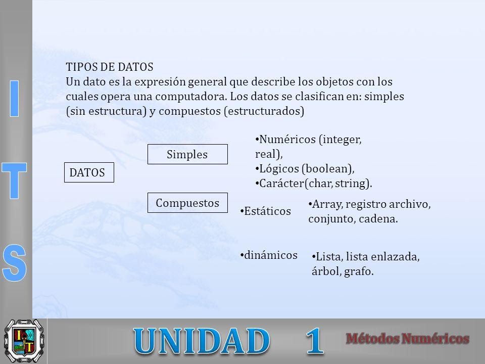 TIPOS DE DATOS Un dato es la expresión general que describe los objetos con los cuales opera una computadora. Los datos se clasifican en: simples (sin