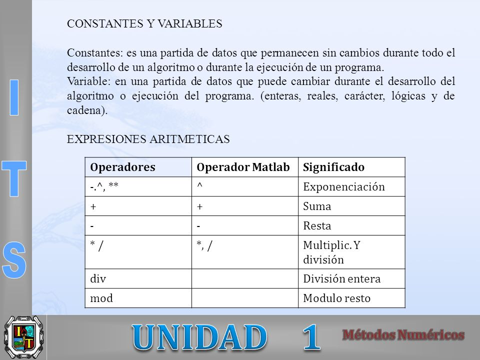 CONSTANTES Y VARIABLES Constantes: es una partida de datos que permanecen sin cambios durante todo el desarrollo de un algoritmo o durante la ejecució
