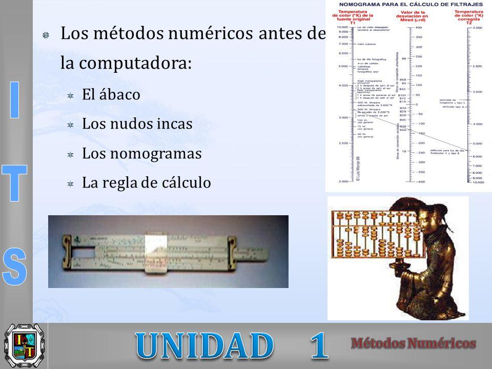 Los métodos numéricos antes de la computadora: El ábaco Los nudos incas Los nomogramas La regla de cálculo