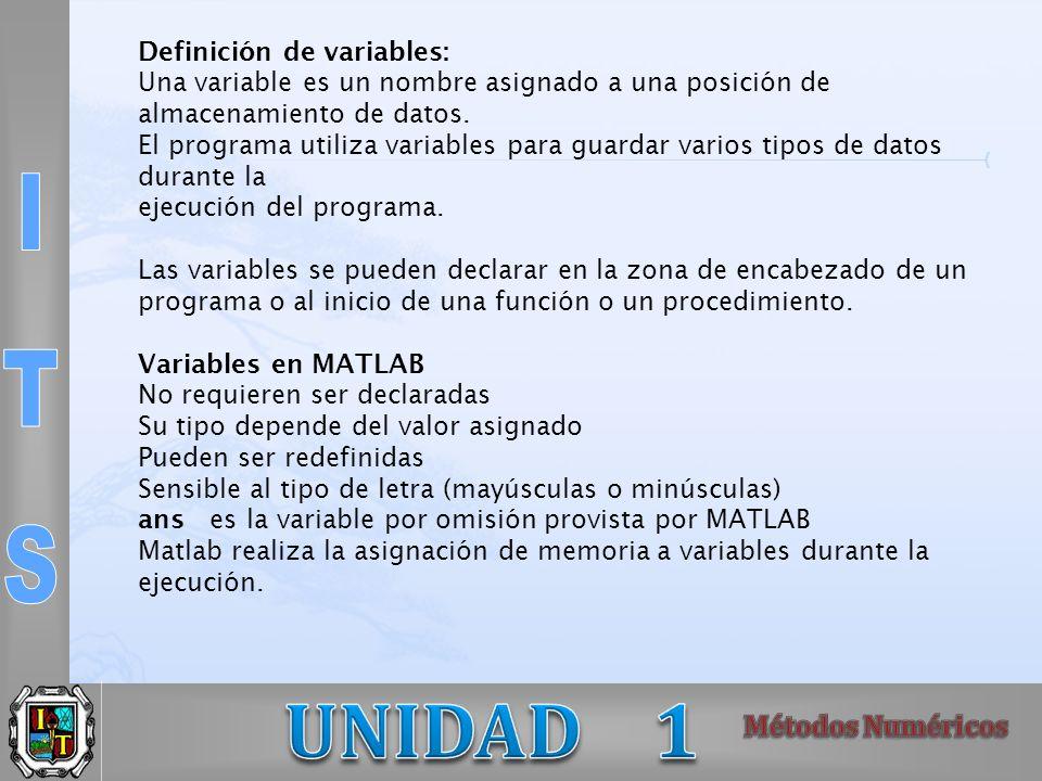 Definición de variables: Una variable es un nombre asignado a una posición de almacenamiento de datos. El programa utiliza variables para guardar vari