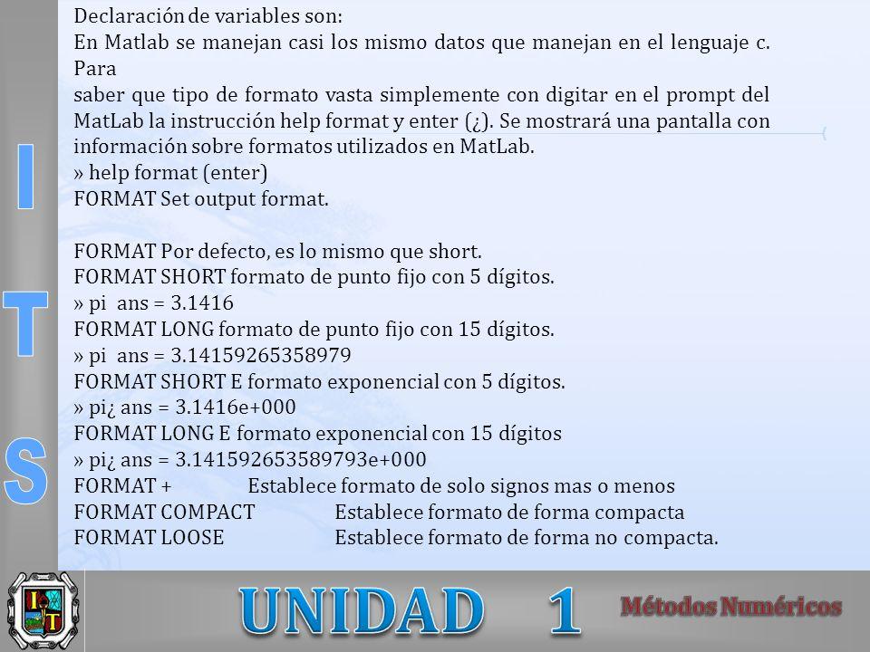 Declaración de variables son: En Matlab se manejan casi los mismo datos que manejan en el lenguaje c. Para saber que tipo de formato vasta simplemente