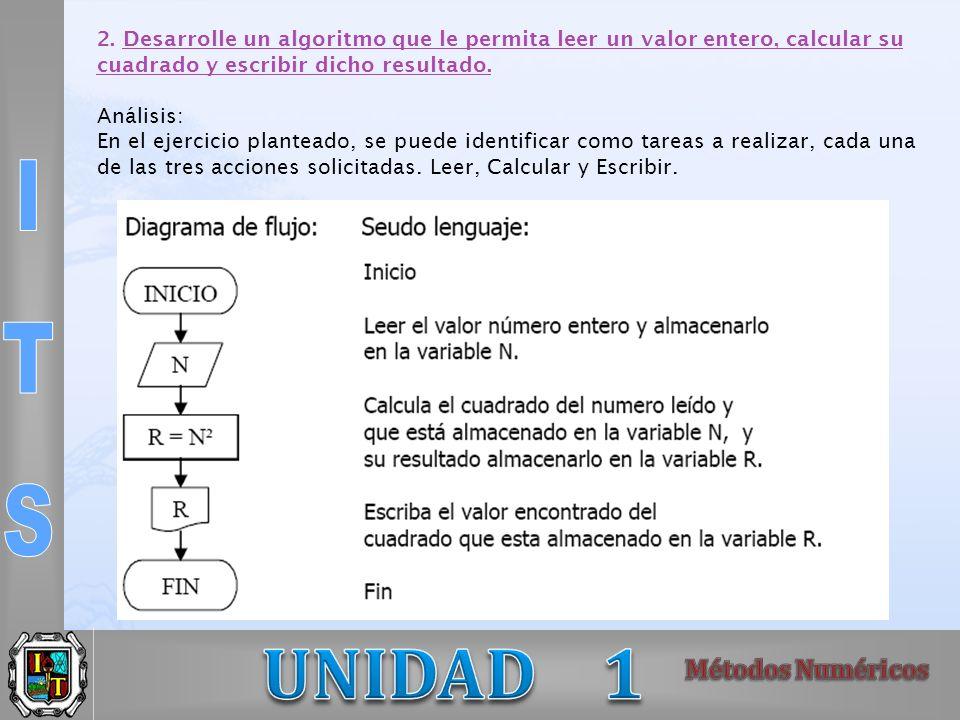 2. Desarrolle un algoritmo que le permita leer un valor entero, calcular su cuadrado y escribir dicho resultado. Análisis: En el ejercicio planteado,