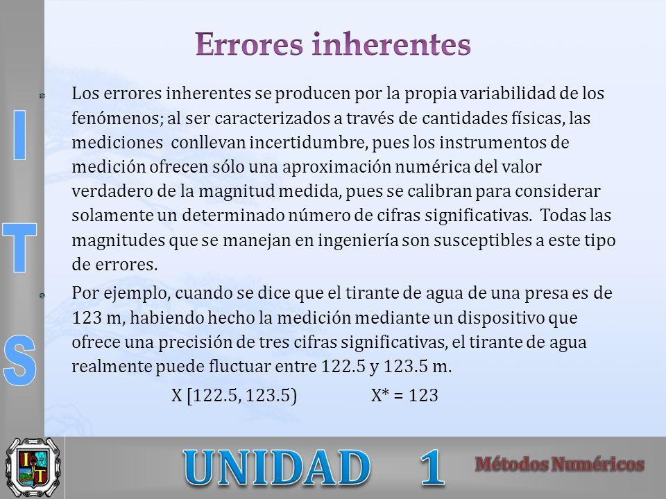 Los errores inherentes se producen por la propia variabilidad de los fenómenos; al ser caracterizados a través de cantidades físicas, las mediciones c