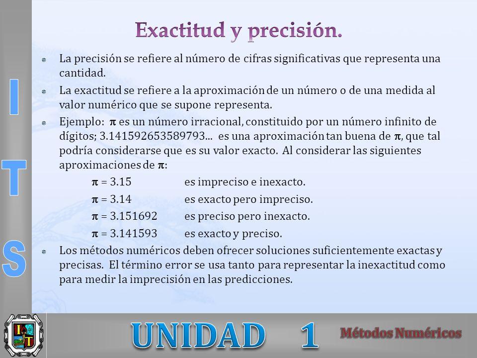 La precisión se refiere al número de cifras significativas que representa una cantidad. La exactitud se refiere a la aproximación de un número o de un