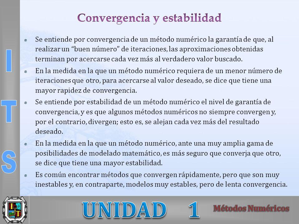Se entiende por convergencia de un método numérico la garantía de que, al realizar un buen número de iteraciones, las aproximaciones obtenidas termina