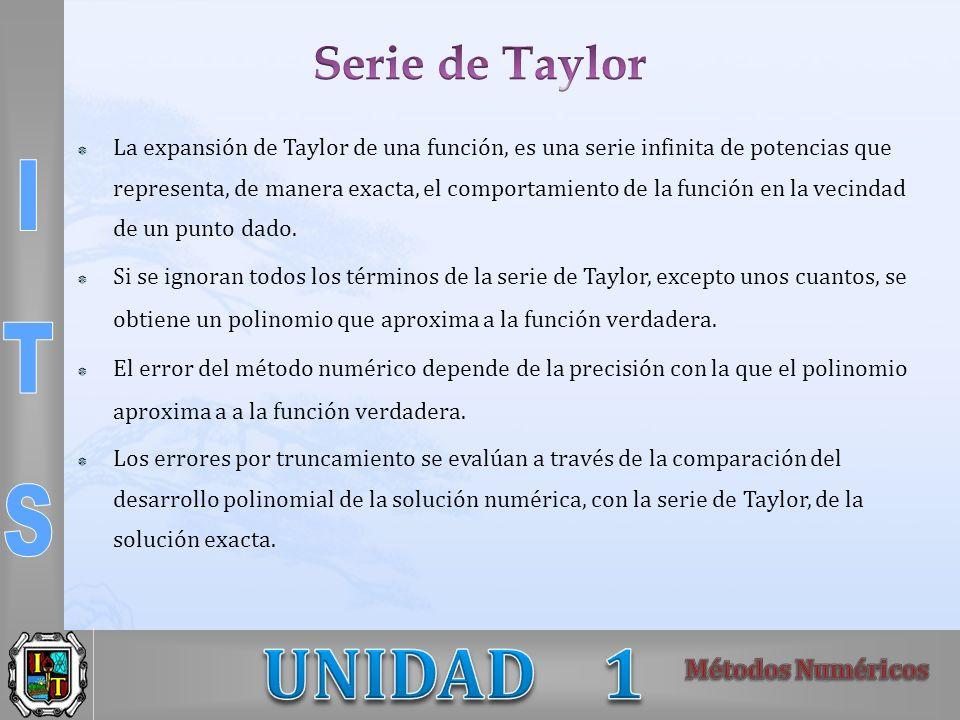 La expansión de Taylor de una función, es una serie infinita de potencias que representa, de manera exacta, el comportamiento de la función en la veci